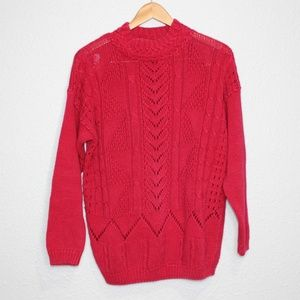 Vintage Anne Klein Chunky Knit Red Sweater sz Med